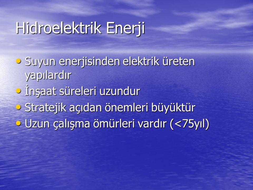 Hidroelektrik Enerji Suyun enerjisinden elektrik üreten yapılardır Suyun enerjisinden elektrik üreten yapılardır İnşaat süreleri uzundur İnşaat süreleri uzundur Stratejik açıdan önemleri büyüktür Stratejik açıdan önemleri büyüktür Uzun çalışma ömürleri vardır (<75yıl) Uzun çalışma ömürleri vardır (<75yıl)