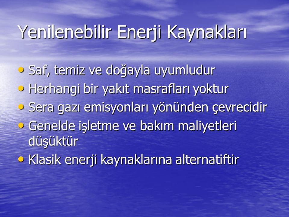 Yenilenebilir Enerji Kaynakları Saf, temiz ve doğayla uyumludur Saf, temiz ve doğayla uyumludur Herhangi bir yakıt masrafları yoktur Herhangi bir yakıt masrafları yoktur Sera gazı emisyonları yönünden çevrecidir Sera gazı emisyonları yönünden çevrecidir Genelde işletme ve bakım maliyetleri düşüktür Genelde işletme ve bakım maliyetleri düşüktür Klasik enerji kaynaklarına alternatiftir Klasik enerji kaynaklarına alternatiftir