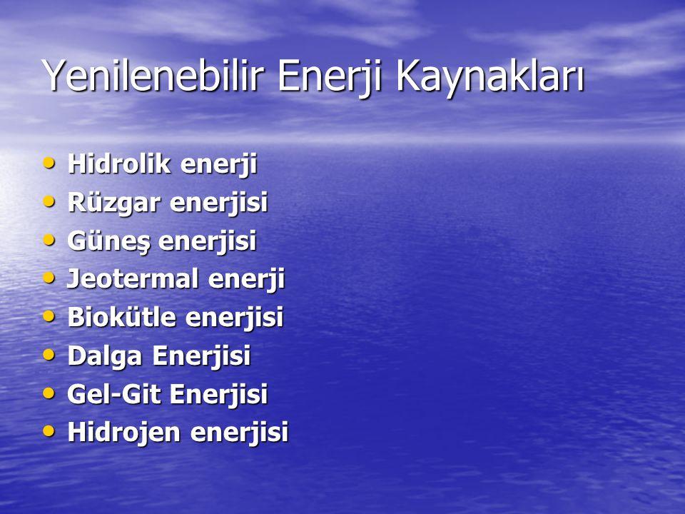 Yenilenebilir Enerji Kaynakları Hidrolik enerji Hidrolik enerji Rüzgar enerjisi Rüzgar enerjisi Güneş enerjisi Güneş enerjisi Jeotermal enerji Jeotermal enerji Biokütle enerjisi Biokütle enerjisi Dalga Enerjisi Dalga Enerjisi Gel-Git Enerjisi Gel-Git Enerjisi Hidrojen enerjisi Hidrojen enerjisi