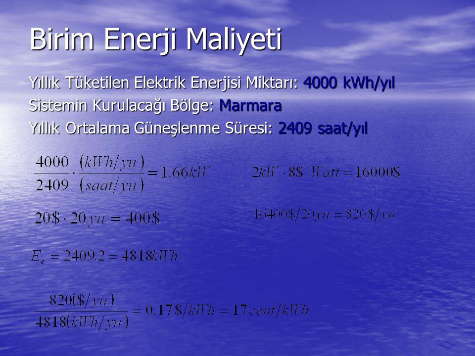 Birim Enerji Maliyeti Yıllık Tüketilen Elektrik Enerjisi Miktarı: 4000 kWh/yıl Sistemin Kurulacağı Bölge: Marmara Yıllık Ortalama Güneşlenme Süresi: 2409 saat/yıl