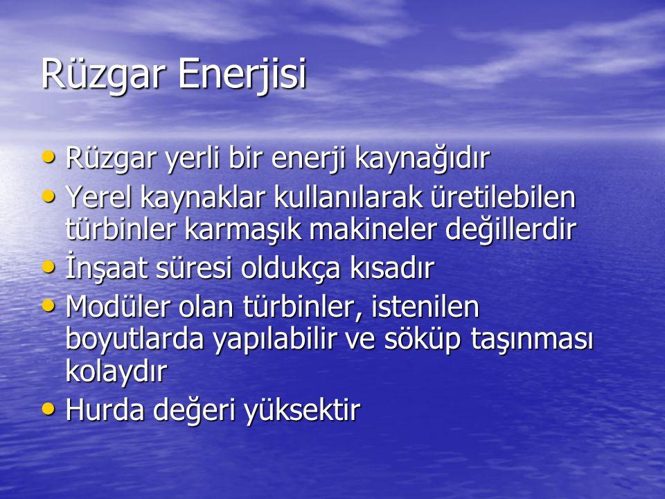Rüzgar Enerjisi Rüzgar yerli bir enerji kaynağıdır Rüzgar yerli bir enerji kaynağıdır Yerel kaynaklar kullanılarak üretilebilen türbinler karmaşık makineler değillerdir Yerel kaynaklar kullanılarak üretilebilen türbinler karmaşık makineler değillerdir İnşaat süresi oldukça kısadır İnşaat süresi oldukça kısadır Modüler olan türbinler, istenilen boyutlarda yapılabilir ve söküp taşınması kolaydır Modüler olan türbinler, istenilen boyutlarda yapılabilir ve söküp taşınması kolaydır Hurda değeri yüksektir Hurda değeri yüksektir