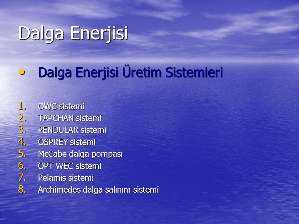Dalga Enerjisi Dalga Enerjisi Üretim Sistemleri Dalga Enerjisi Üretim Sistemleri 1.