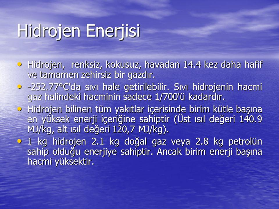 Hidrojen Enerjisi Hidrojen, renksiz, kokusuz, havadan 14.4 kez daha hafif ve tamamen zehirsiz bir gazdır.