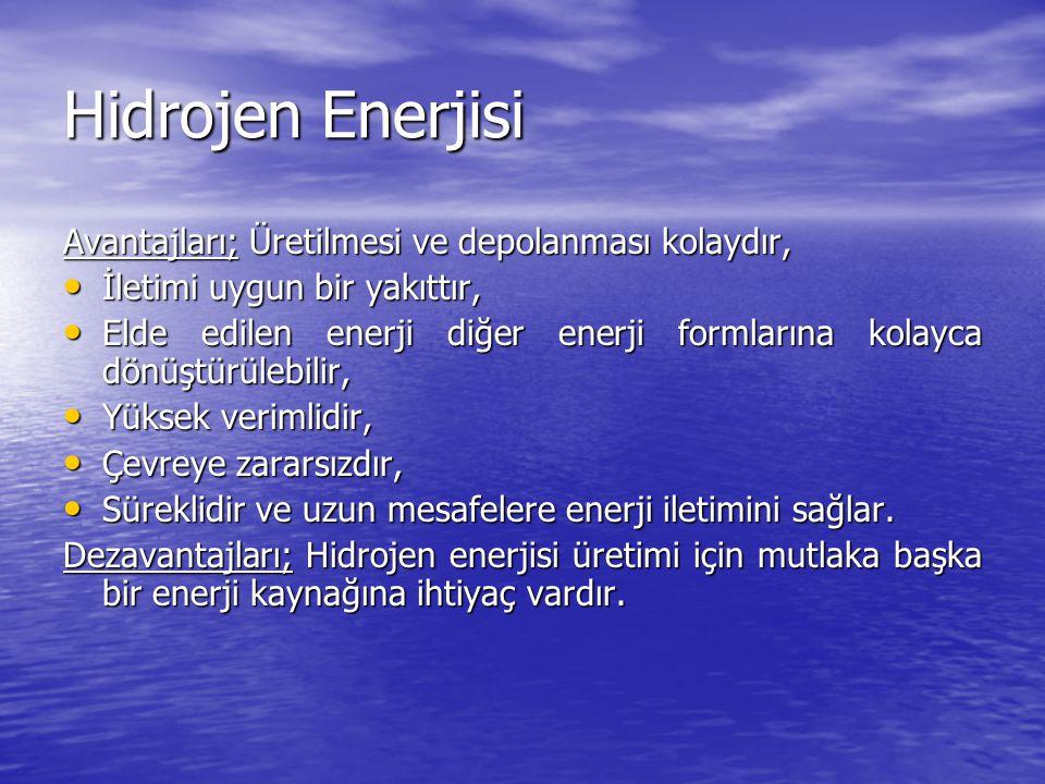 Hidrojen Enerjisi Avantajları; Üretilmesi ve depolanması kolaydır, İletimi uygun bir yakıttır, İletimi uygun bir yakıttır, Elde edilen enerji diğer enerji formlarına kolayca dönüştürülebilir, Elde edilen enerji diğer enerji formlarına kolayca dönüştürülebilir, Yüksek verimlidir, Yüksek verimlidir, Çevreye zararsızdır, Çevreye zararsızdır, Süreklidir ve uzun mesafelere enerji iletimini sağlar.