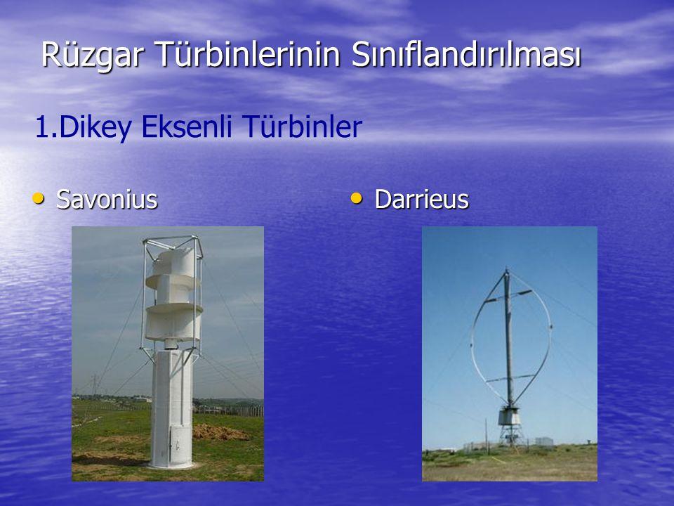 Rüzgar Türbinlerinin Sınıflandırılması Savonius Savonius Darrieus Darrieus 1.Dikey Eksenli Türbinler