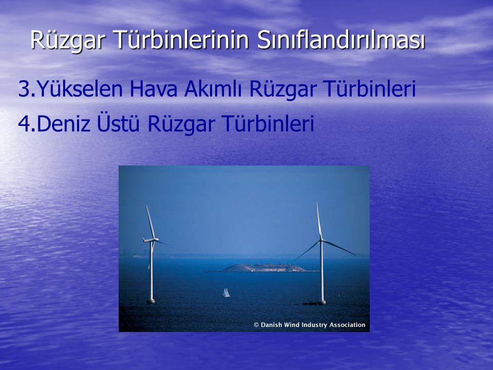 Rüzgar Türbinlerinin Sınıflandırılması 3.Yükselen Hava Akımlı Rüzgar Türbinleri 4.Deniz Üstü Rüzgar Türbinleri