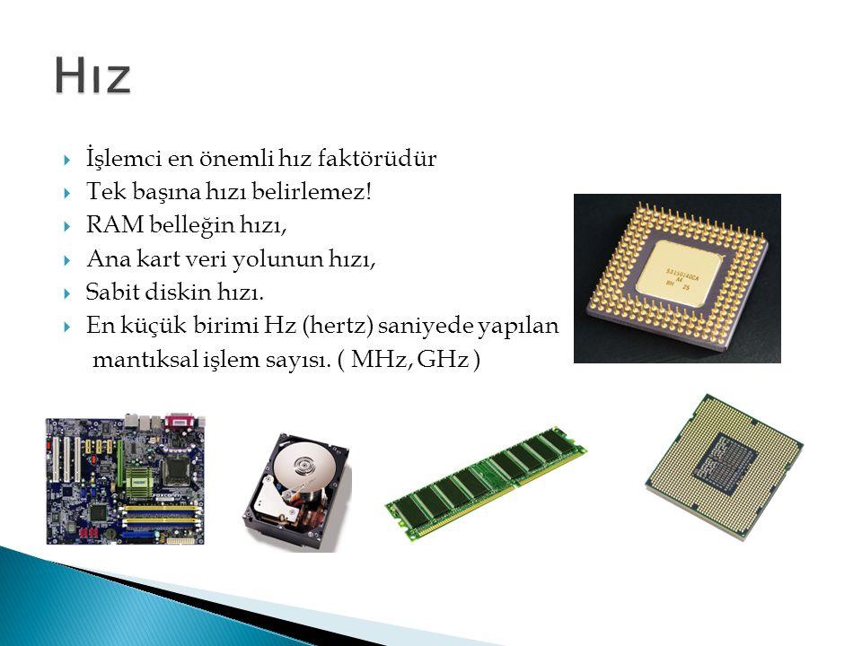 İşlemci en önemli hız faktörüdür  Tek başına hızı belirlemez!  RAM belleğin hızı,  Ana kart veri yolunun hızı,  Sabit diskin hızı.  En küçük bi