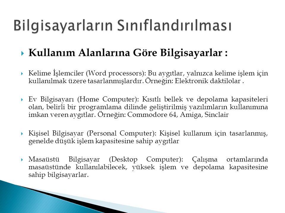  Bilgisayarın byte (bayt) cinsinden bilgi saklama kapasitesi  Kullanım alanı ve ihtiyaca göre kapasite  En küçük birim, bit (0 veya 1)  8 bit = 1 byte = 1 karakter  Bit, Byte, Kilobyte, Megabyte, Gigabyte, Terabyte, Petabyte…