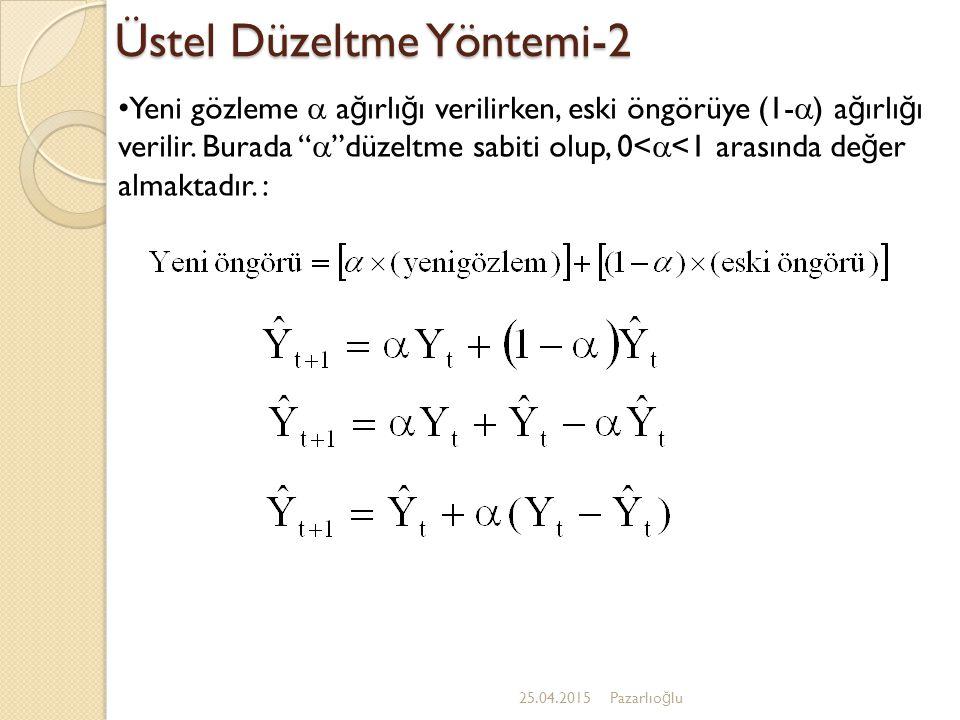 Holt Yöntemi-1 25.04.2015Pazarlıo ğ lu Holt yönteminde üç denklem kullanılır: 1.Üstel düzeltilmiş seri ya da cari düzey tahmini