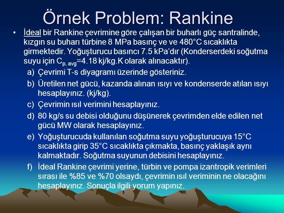 Örnek Problem: Rankine İdeal bir Rankine çevrimine göre çalışan bir buharlı güç santralinde, kızgın su buharı türbine 8 MPa basınç ve ve 480°C sıcaklıkta girmektedir.