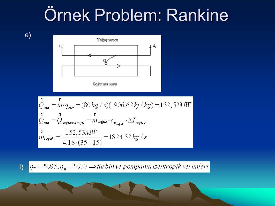 Örnek Problem: Rankine e) f)