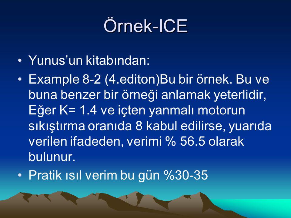 Örnek-ICE Yunus'un kitabından: Example 8-2 (4.editon)Bu bir örnek. Bu ve buna benzer bir örneği anlamak yeterlidir, Eğer K= 1.4 ve içten yanmalı motor