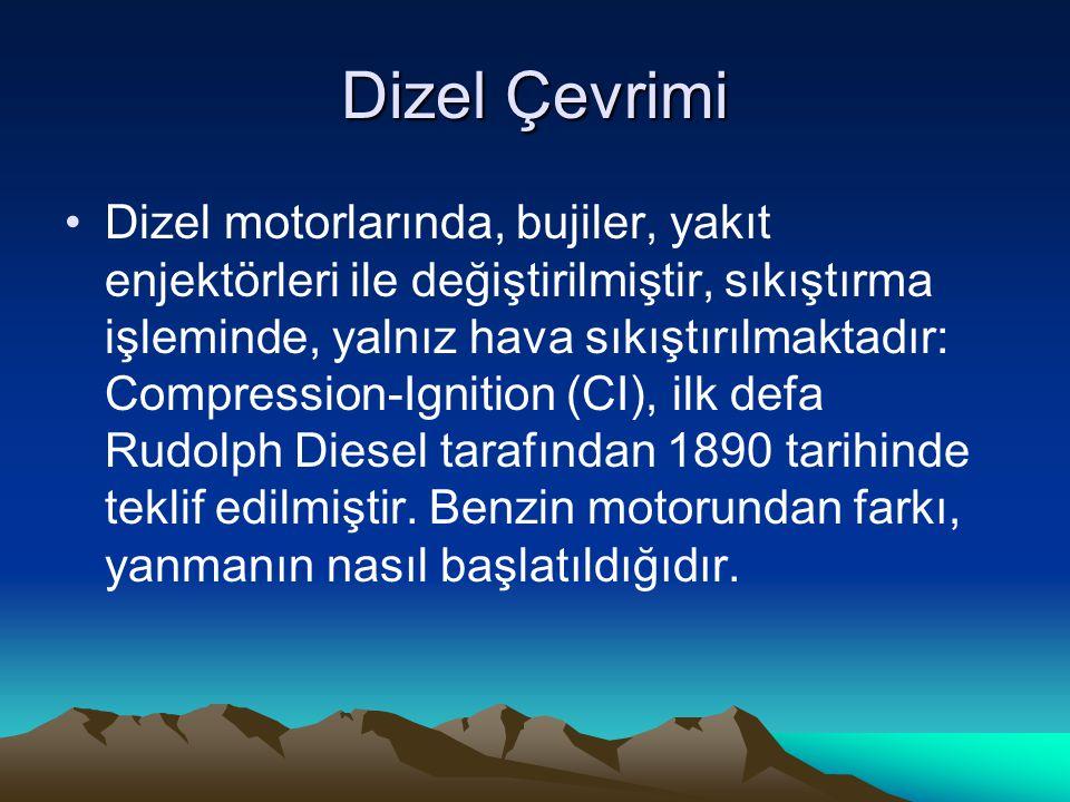 Dizel Çevrimi Dizel motorlarında, bujiler, yakıt enjektörleri ile değiştirilmiştir, sıkıştırma işleminde, yalnız hava sıkıştırılmaktadır: Compression-Ignition (CI), ilk defa Rudolph Diesel tarafından 1890 tarihinde teklif edilmiştir.