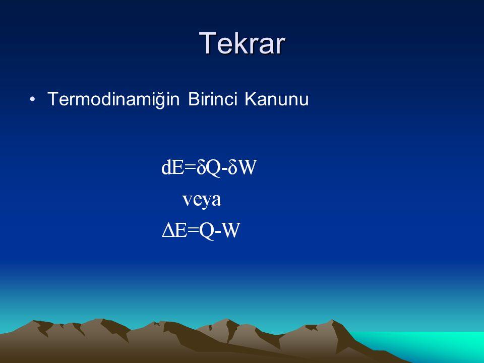 Isıl verim: Wnet/ Qh Diyagramdan: Üretilen ısı, ve yapılan iş Entalpi farklarından Termodinamik tabloları kullanarak elde edilir.