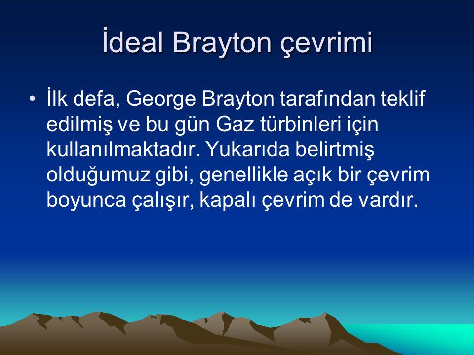 İdeal Brayton çevrimi İlk defa, George Brayton tarafından teklif edilmiş ve bu gün Gaz türbinleri için kullanılmaktadır. Yukarıda belirtmiş olduğumuz