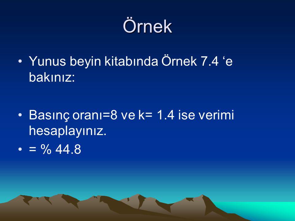 Örnek Yunus beyin kitabında Örnek 7.4 'e bakınız: Basınç oranı=8 ve k= 1.4 ise verimi hesaplayınız.