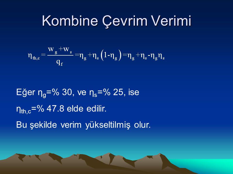 Kombine Çevrim Verimi Eğer η g =% 30, ve η s =% 25, ise η th,c =% 47.8 elde edilir. Bu şekilde verim yükseltilmiş olur.