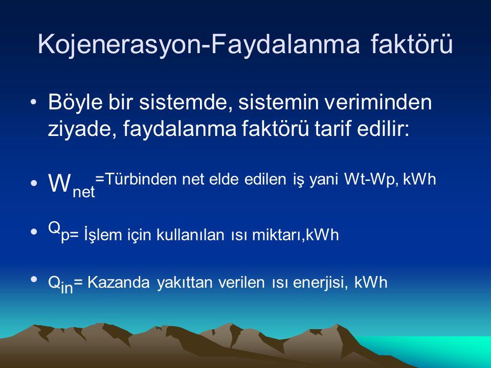 Kojenerasyon-Faydalanma faktörü Böyle bir sistemde, sistemin veriminden ziyade, faydalanma faktörü tarif edilir: W net =Türbinden net elde edilen iş yani Wt-Wp, kWh Q p= İşlem için kullanılan ısı miktarı,kWh Q in = Kazanda yakıttan verilen ısı enerjisi, kWh