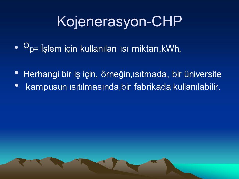 Kojenerasyon-CHP Q p= İşlem için kullanılan ısı miktarı,kWh, Herhangi bir iş için, örneğin,ısıtmada, bir üniversite kampusun ısıtılmasında,bir fabrikada kullanılabilir.