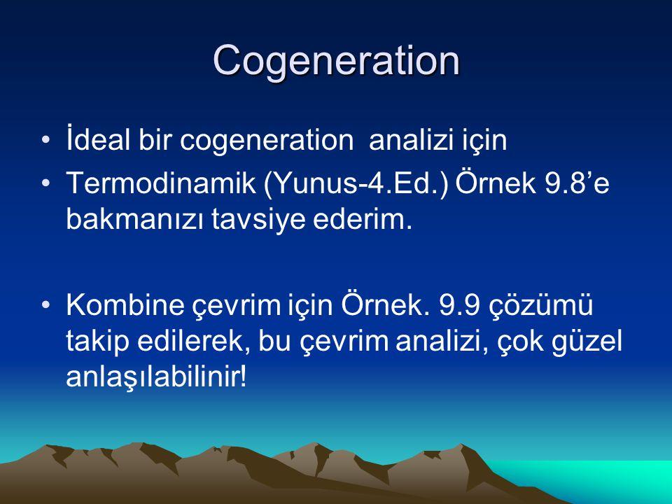 Cogeneration İdeal bir cogeneration analizi için Termodinamik (Yunus-4.Ed.) Örnek 9.8'e bakmanızı tavsiye ederim. Kombine çevrim için Örnek. 9.9 çözüm