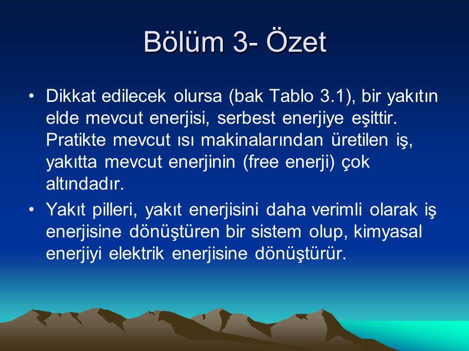 Bölüm 3- Özet Dikkat edilecek olursa (bak Tablo 3.1), bir yakıtın elde mevcut enerjisi, serbest enerjiye eşittir.