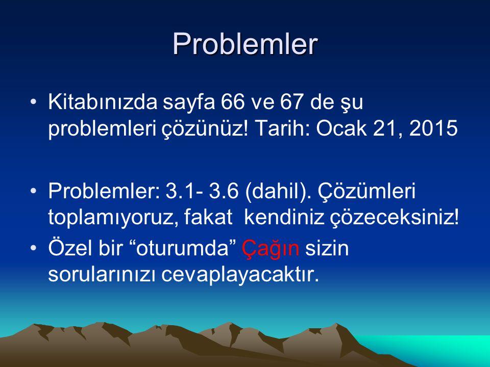 Problemler Kitabınızda sayfa 66 ve 67 de şu problemleri çözünüz! Tarih: Ocak 21, 2015 Problemler: 3.1- 3.6 (dahil). Çözümleri toplamıyoruz, fakat kend
