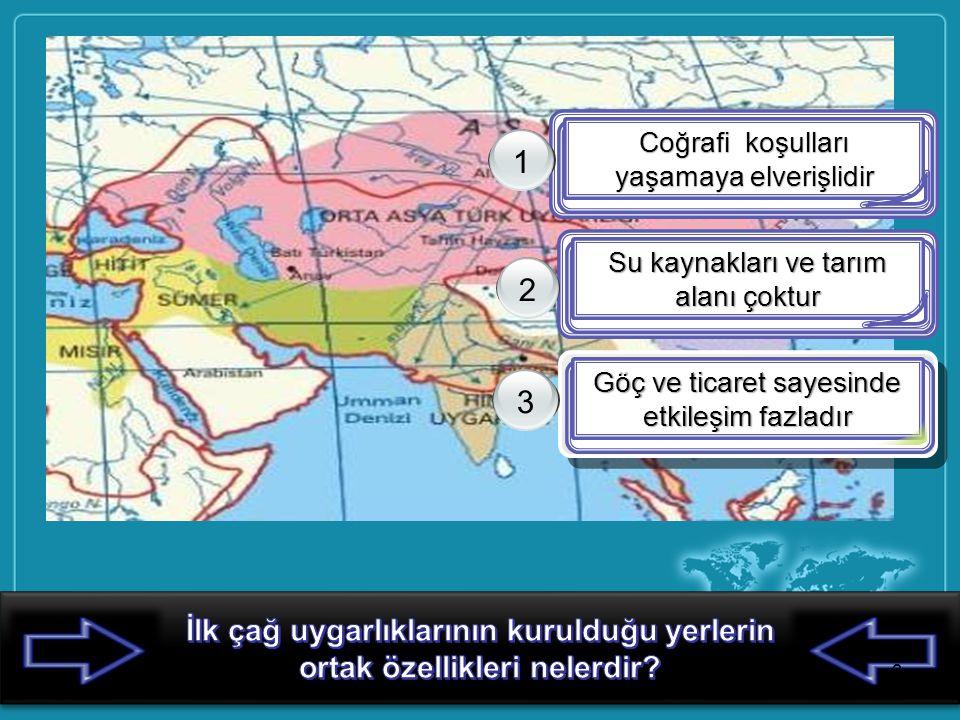 Coğrafi koşulları yaşamaya elverişlidir 1 Su kaynakları ve tarım alanı çoktur 2 Göç ve ticaret sayesinde etkileşim fazladır 3 3