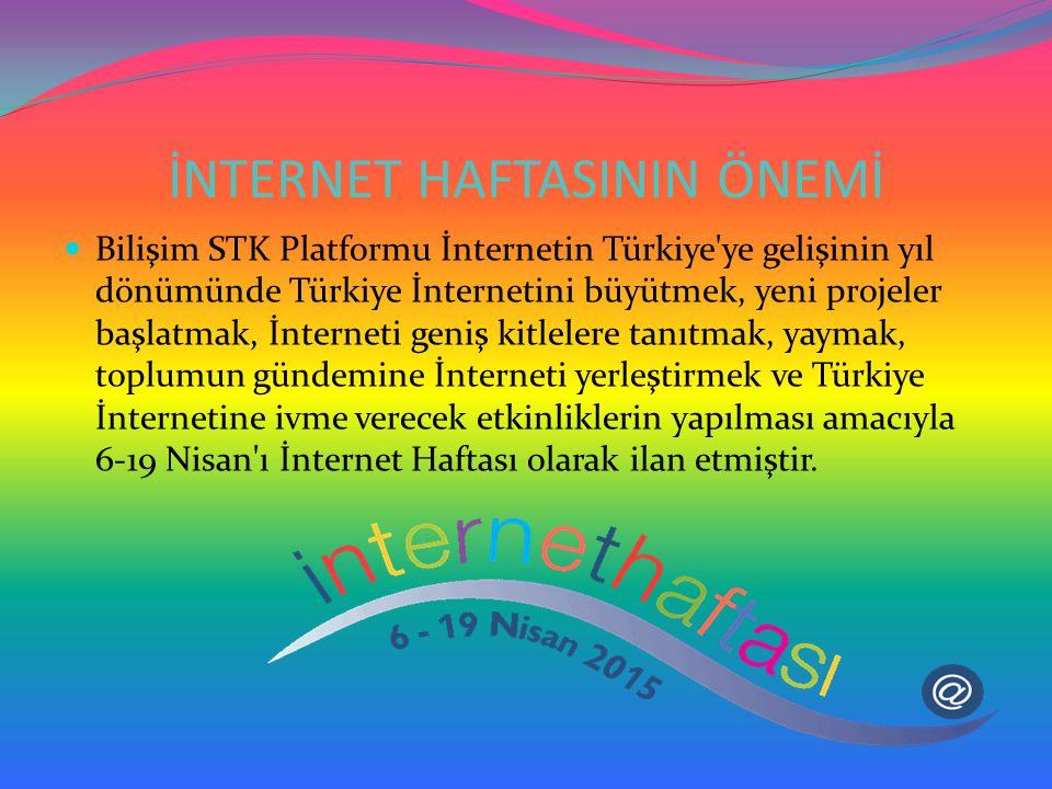 İNTERNET HAFTASININ ÖNEMİ Bilişim STK Platformu İnternetin Türkiye'ye gelişinin yıl dönümünde Türkiye İnternetini büyütmek, yeni projeler başlatmak, İ