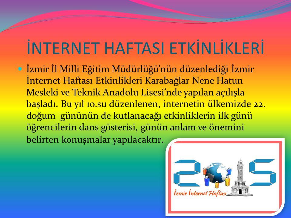 İNTERNET HAFTASI ETKİNLİKLERİ İzmir İl Milli Eğitim Müdürlüğü'nün düzenlediği İzmir İnternet Haftası Etkinlikleri Karabağlar Nene Hatun Mesleki ve Tek