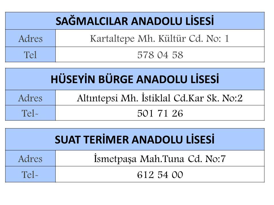 SAĞMALCILAR ANADOLU LİSESİ Adres Kartaltepe Mh.Kültür Cd.