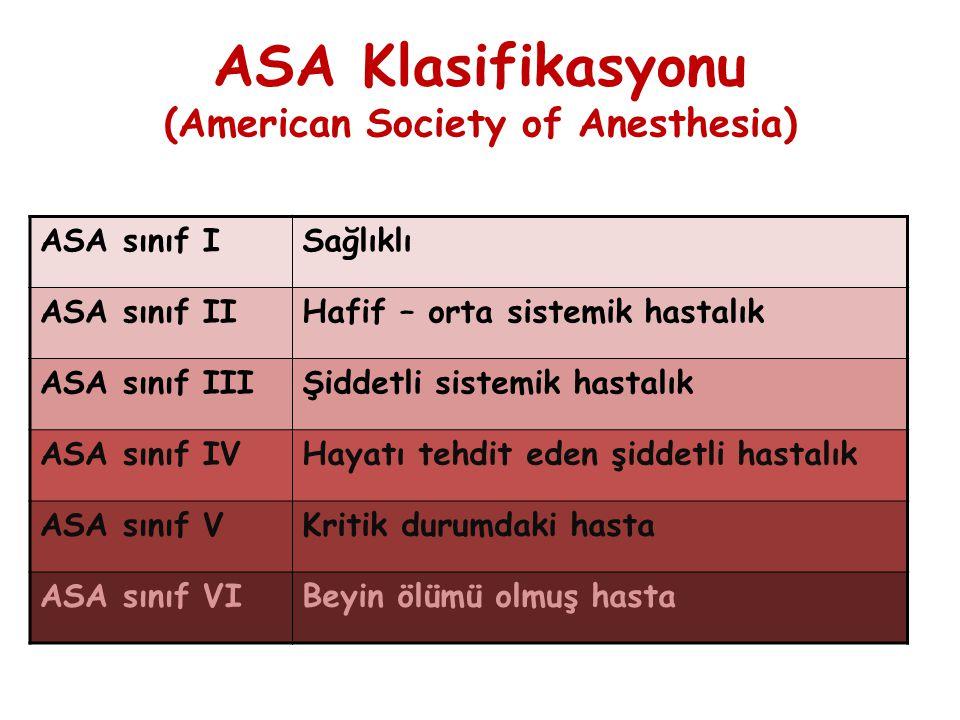 ASA Klasifikasyonu (American Society of Anesthesia) ASA sınıf ISağlıklı ASA sınıf IIHafif – orta sistemik hastalık ASA sınıf IIIŞiddetli sistemik hast