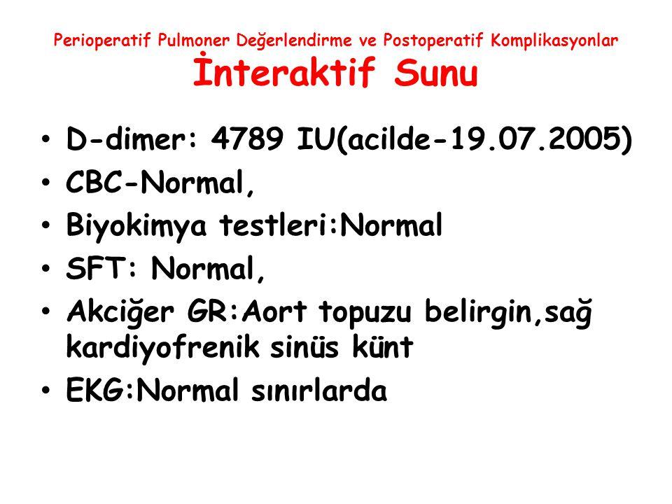 Perioperatif Pulmoner Değerlendirme ve Postoperatif Komplikasyonlar İnteraktif Sunu D-dimer: 4789 IU(acilde-19.07.2005) CBC-Normal, Biyokimya testleri