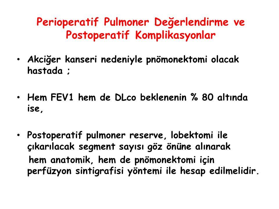 Perioperatif Pulmoner Değerlendirme ve Postoperatif Komplikasyonlar Akciğer kanseri nedeniyle pnömonektomi olacak hastada ; Hem FEV1 hem de DLco bekle