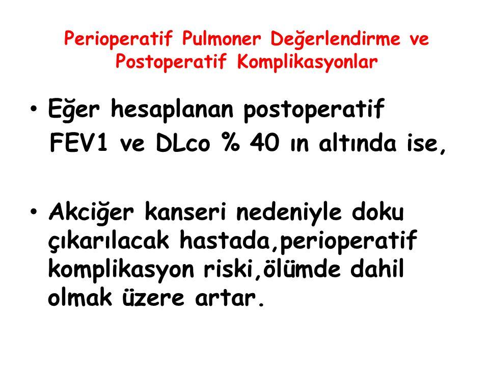 Perioperatif Pulmoner Değerlendirme ve Postoperatif Komplikasyonlar Eğer hesaplanan postoperatif FEV1 ve DLco % 40 ın altında ise, Akciğer kanseri ned