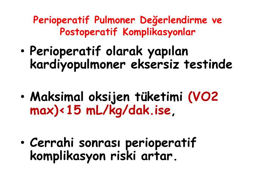 Perioperatif Pulmoner Değerlendirme ve Postoperatif Komplikasyonlar Perioperatif olarak yapılan kardiyopulmoner eksersiz testinde Maksimal oksijen tük
