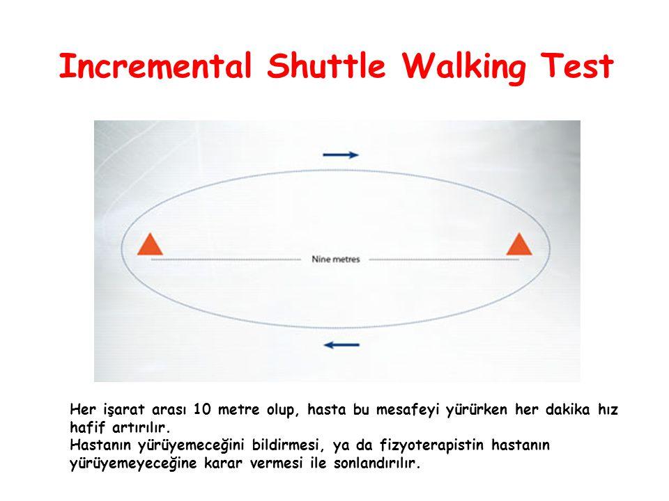 Incremental Shuttle Walking Test Her işarat arası 10 metre olup, hasta bu mesafeyi yürürken her dakika hız hafif artırılır. Hastanın yürüyemeceğini bi