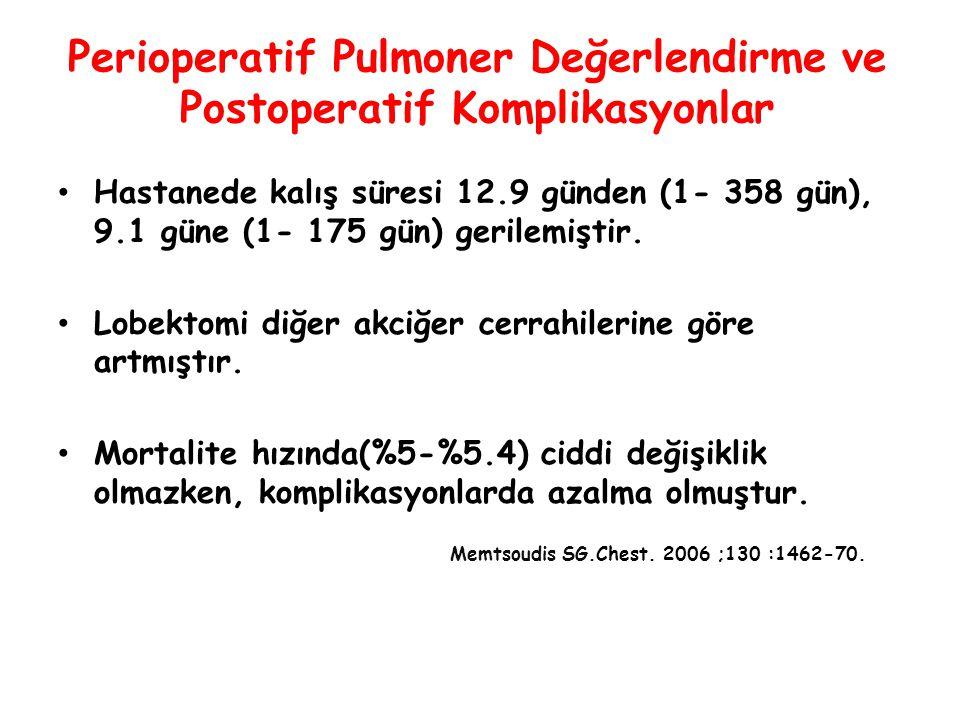 Perioperatif Pulmoner Değerlendirme ve Postoperatif Komplikasyonlar Hastanede kalış süresi 12.9 günden (1- 358 gün), 9.1 güne (1- 175 gün) gerilemişti
