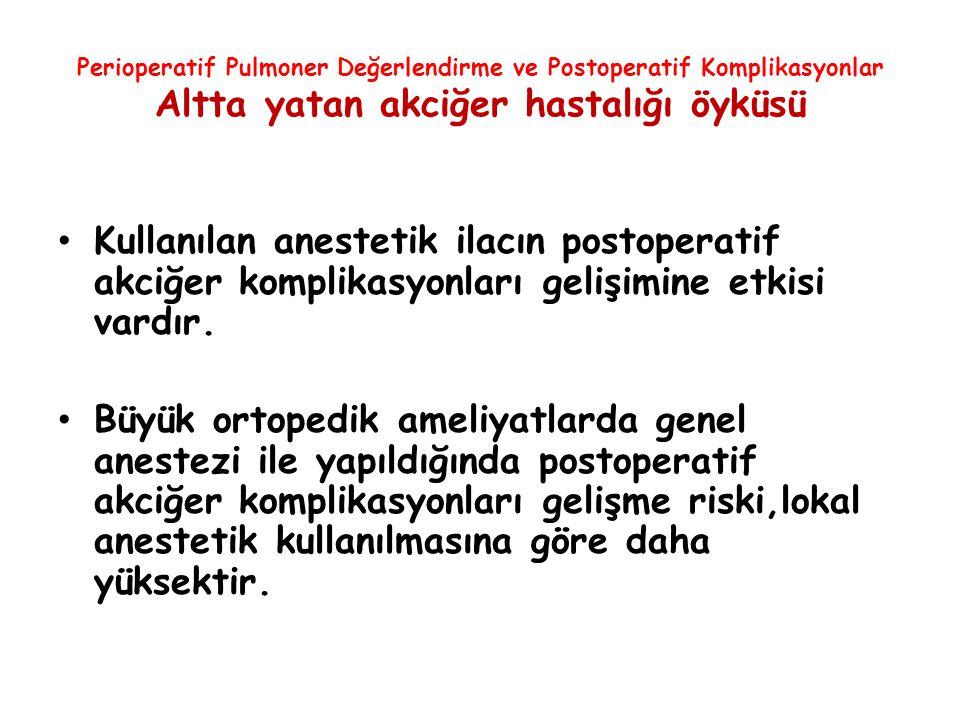 Perioperatif Pulmoner Değerlendirme ve Postoperatif Komplikasyonlar Altta yatan akciğer hastalığı öyküsü Kullanılan anestetik ilacın postoperatif akci