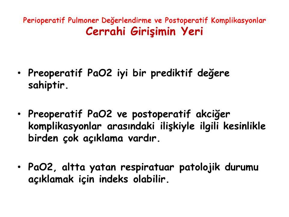 Perioperatif Pulmoner Değerlendirme ve Postoperatif Komplikasyonlar Cerrahi Girişimin Yeri Preoperatif PaO2 iyi bir prediktif değere sahiptir. Preoper
