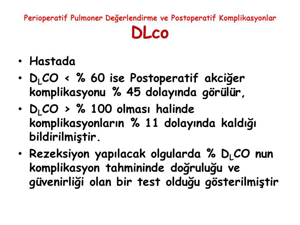 Perioperatif Pulmoner Değerlendirme ve Postoperatif Komplikasyonlar DLco Hastada D L CO < % 60 ise Postoperatif akciğer komplikasyonu % 45 dolayında g