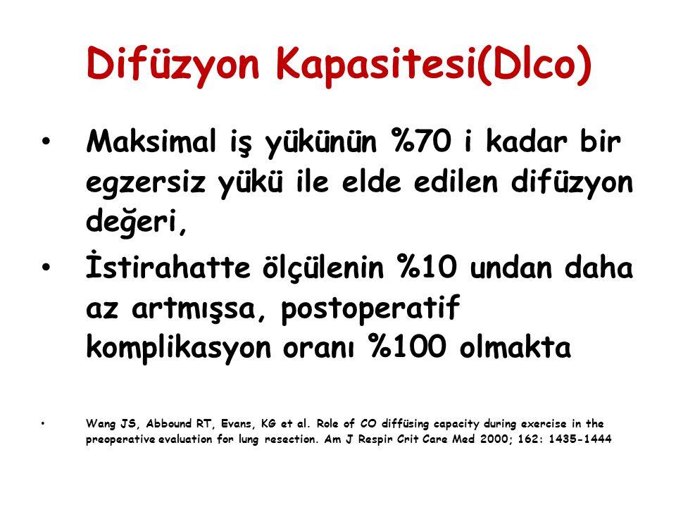 Difüzyon Kapasitesi(Dlco) Maksimal iş yükünün %70 i kadar bir egzersiz yükü ile elde edilen difüzyon değeri, İstirahatte ölçülenin %10 undan daha az a