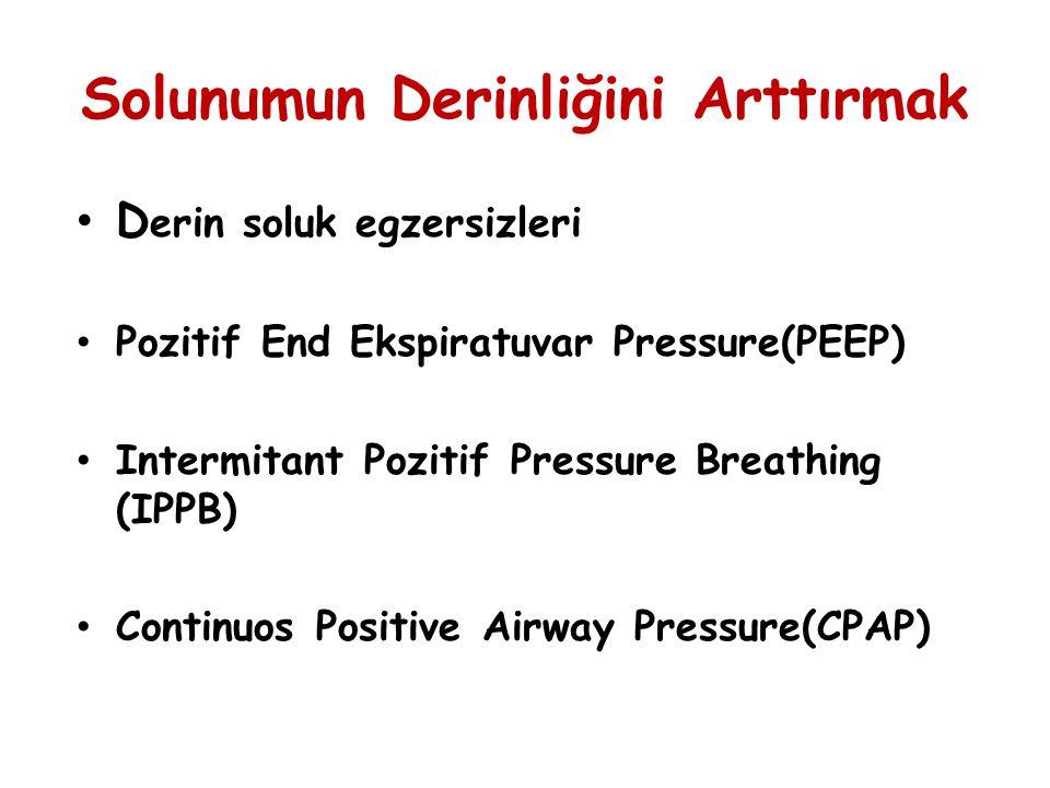 Solunumun Derinliğini Arttırmak D erin soluk egzersizleri Pozitif End Ekspiratuvar Pressure(PEEP) Intermitant Pozitif Pressure Breathing (IPPB) Contin
