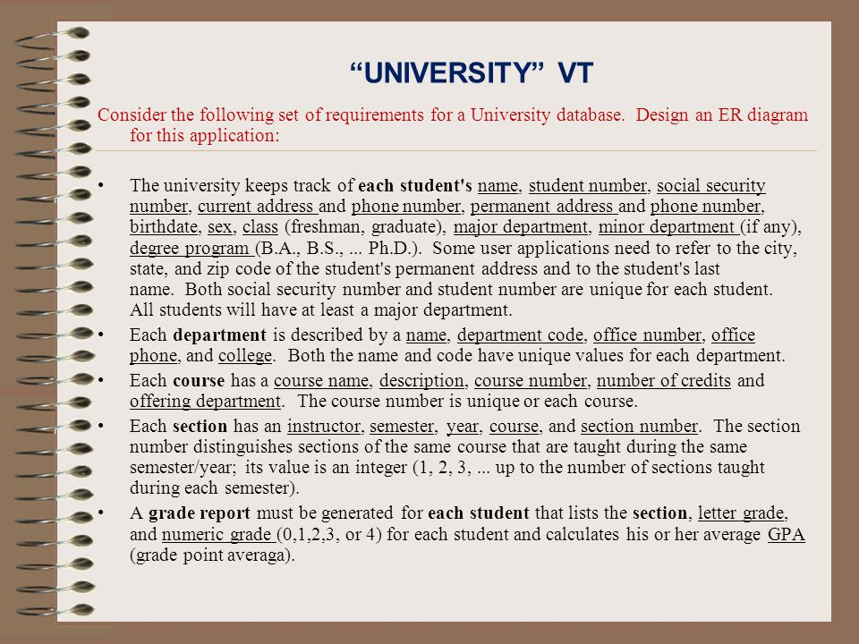 UNIVERSITY VT Consider the following set of requirements for a University database.