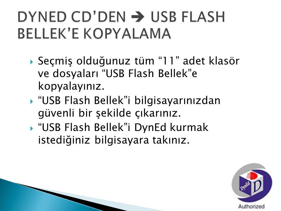 """ Seçmiş olduğunuz tüm """"11"""" adet klasör ve dosyaları """"USB Flash Bellek""""e kopyalayınız.  """"USB Flash Bellek""""i bilgisayarınızdan güvenli bir şekilde çık"""