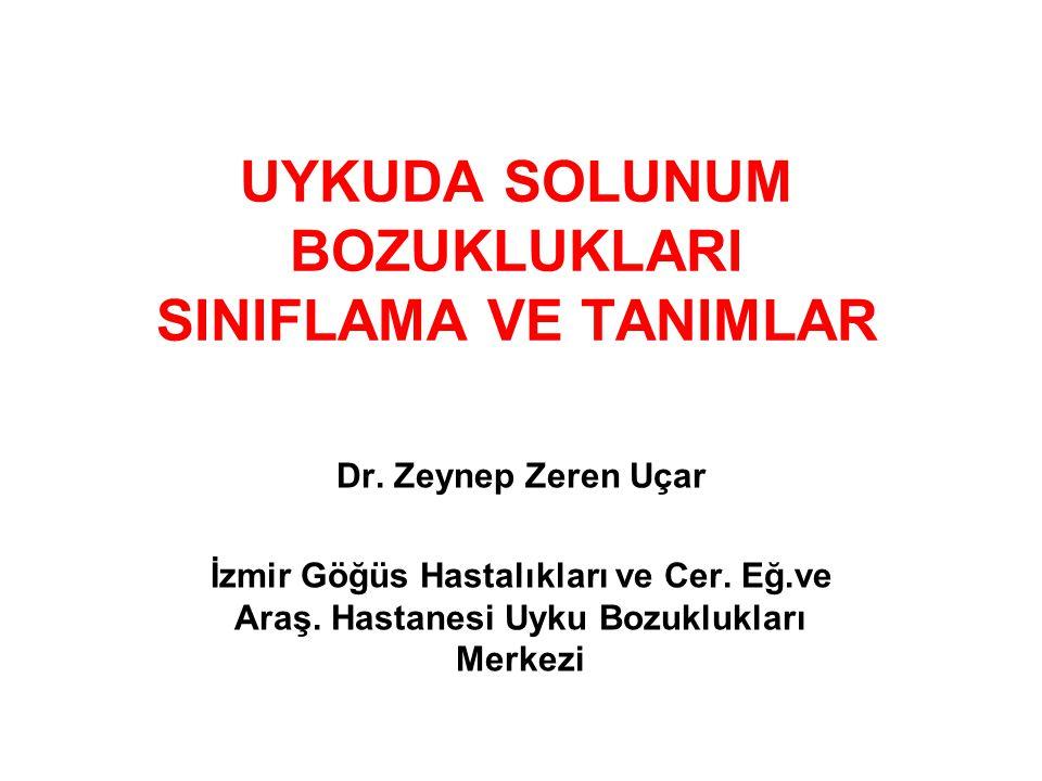 UYKUDA SOLUNUM BOZUKLUKLARI SINIFLAMA VE TANIMLAR Dr. Zeynep Zeren Uçar İzmir Göğüs Hastalıkları ve Cer. Eğ.ve Araş. Hastanesi Uyku Bozuklukları Merke