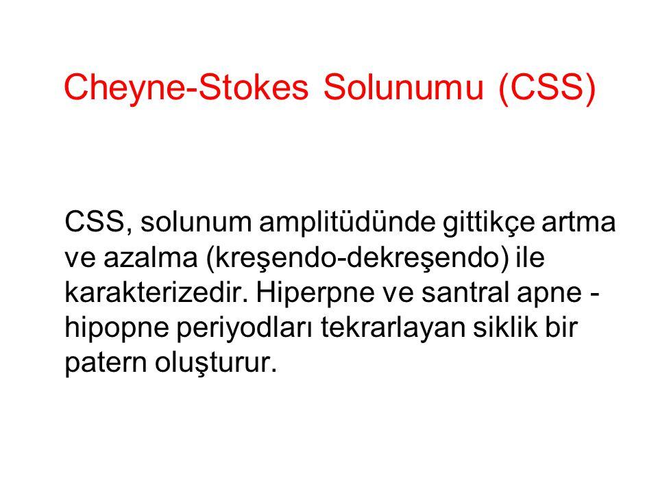 Cheyne-Stokes Solunumu (CSS) CSS, solunum amplitüdünde gittikçe artma ve azalma (kreşendo-dekreşendo) ile karakterizedir. Hiperpne ve santral apne - h