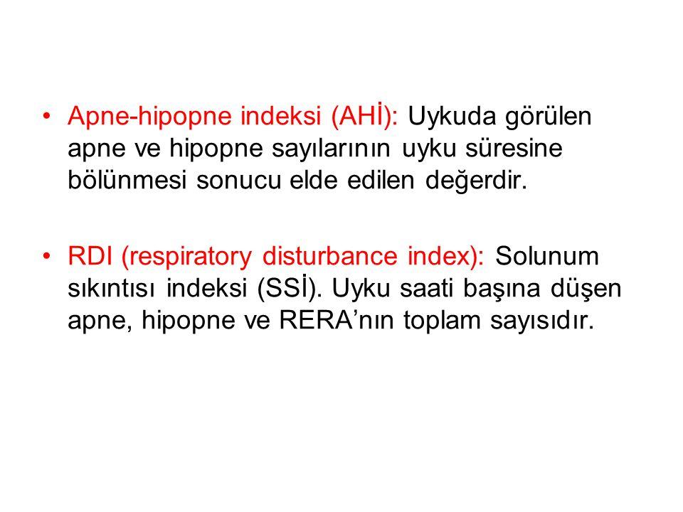 Apne-hipopne indeksi (AHİ): Uykuda görülen apne ve hipopne sayılarının uyku süresine bölünmesi sonucu elde edilen değerdir. RDI (respiratory disturban