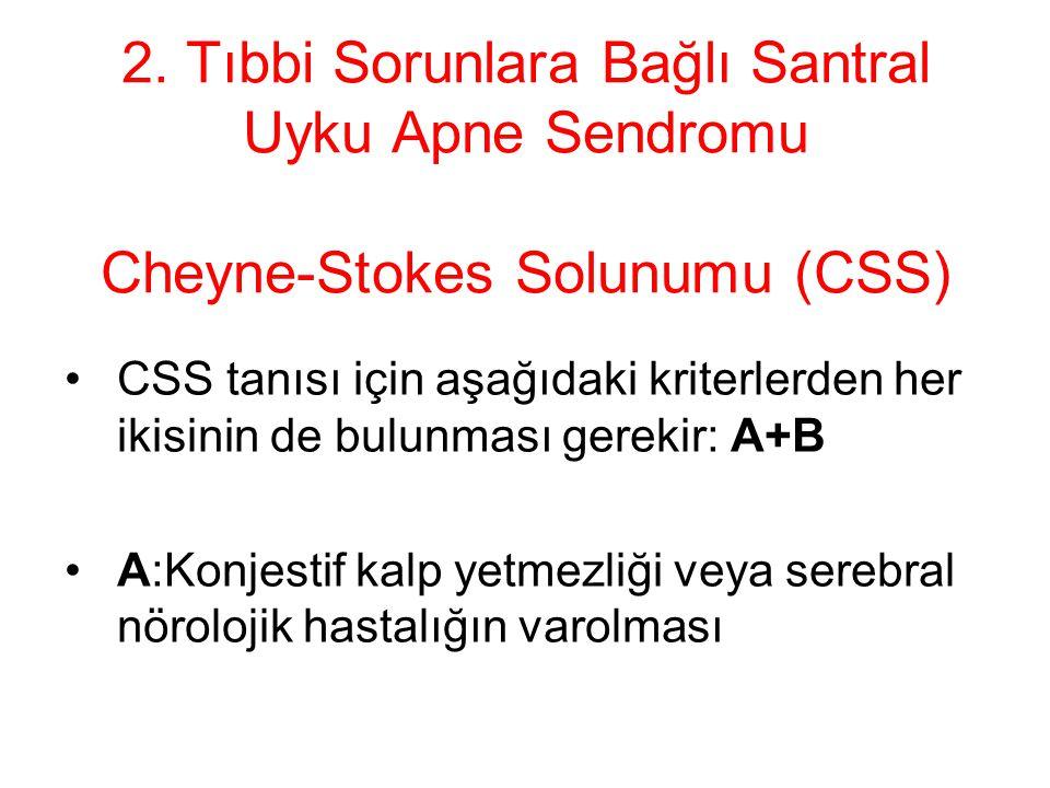 2. Tıbbi Sorunlara Bağlı Santral Uyku Apne Sendromu Cheyne-Stokes Solunumu (CSS) CSS tanısı için aşağıdaki kriterlerden her ikisinin de bulunması gere
