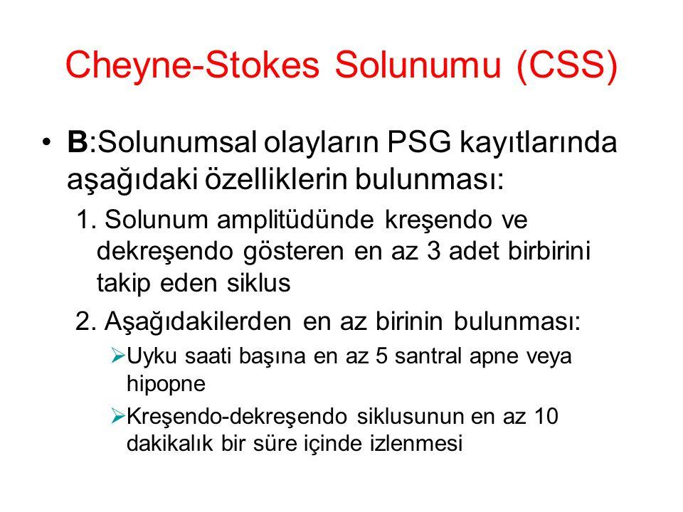 Cheyne-Stokes Solunumu (CSS) B:Solunumsal olayların PSG kayıtlarında aşağıdaki özelliklerin bulunması: 1. Solunum amplitüdünde kreşendo ve dekreşendo