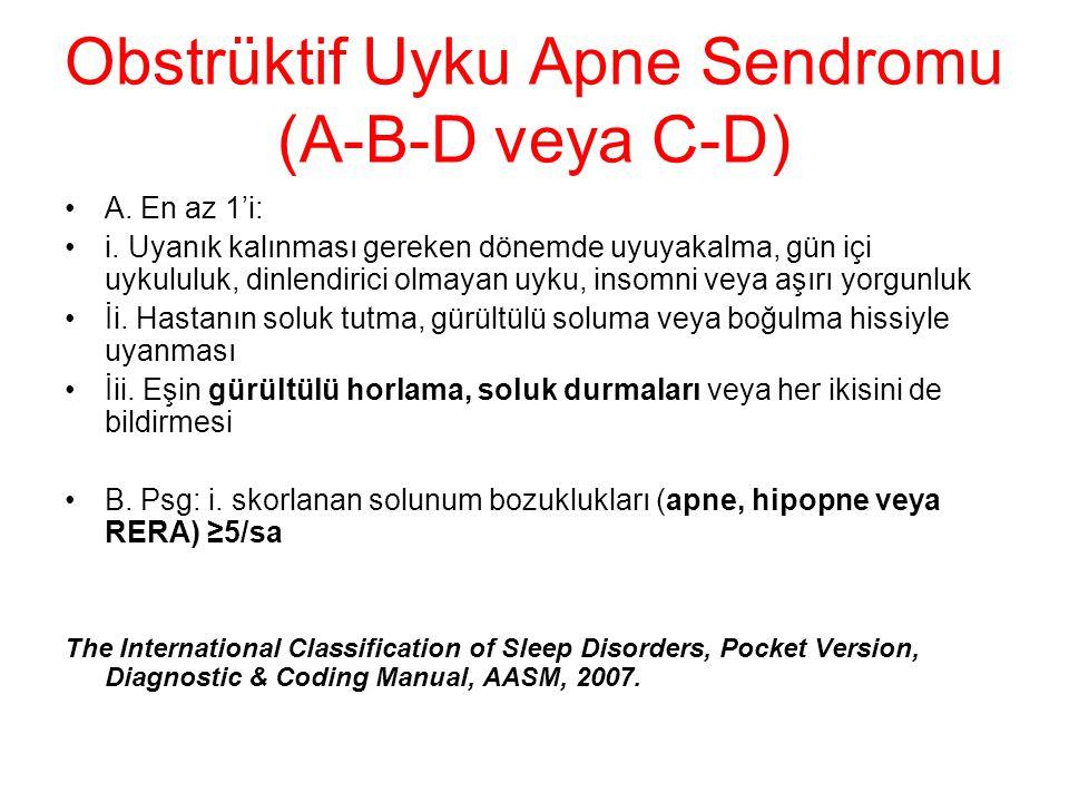 Obstrüktif Uyku Apne Sendromu (A-B-D veya C-D) A. En az 1'i: i. Uyanık kalınması gereken dönemde uyuyakalma, gün içi uykululuk, dinlendirici olmayan u